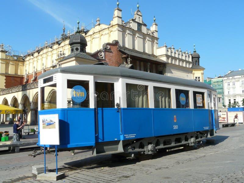 KRAKOW,POLAND -The old tram the main square stock photo