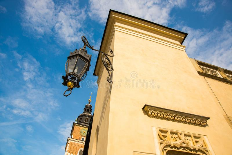Krakow, Poland: Town Hall Tower at Main Market Square in the Old Town stock photo