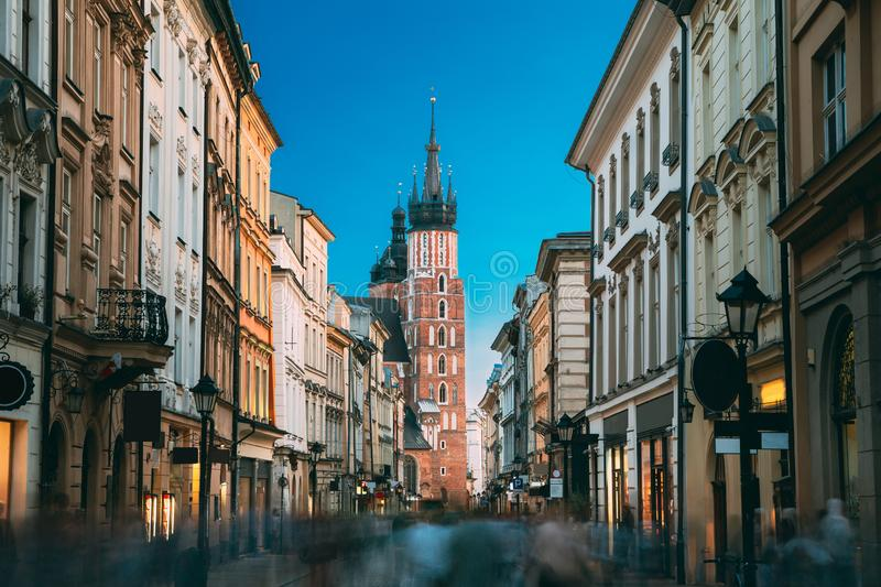 Krakow, Poland. View Of The St. Mary`s Basilica From Florian Street. Famous Landmark Old Landmark Church Of Our Lady stock images