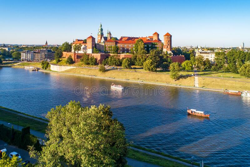 Krakow. Poland.  Wawel cathedral and castle. Aerial view stock images