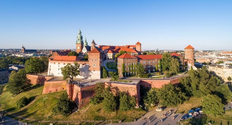 Krakow. Poland.  Wawel cathedral and castle. Aerial view royalty free stock photography
