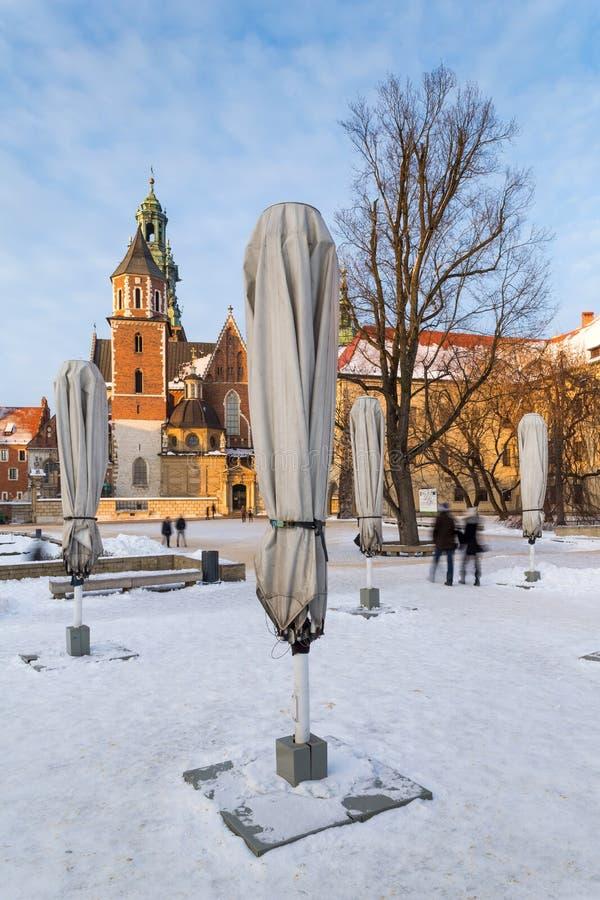 krakow Poland Wawel Grodowi i fałdowi cukierniani parasole obraz royalty free
