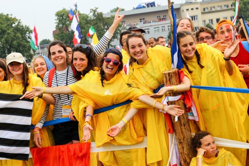 KRAKOW, POLSKA - 2016: Krakow Blonia, Światowy młodość dzień 2016, yo zdjęcia royalty free