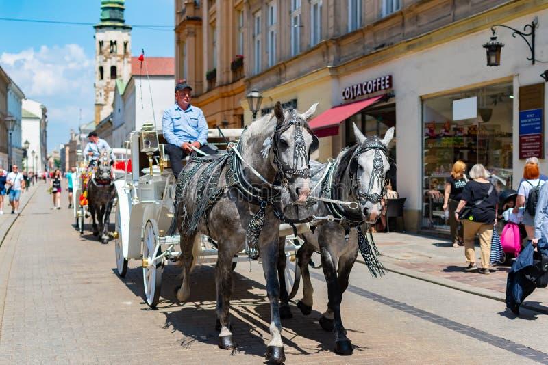 Krakow, Polska, 10 2019 Maj - Końscy frachty przy głównym placem w Krakow w letnim dniu, Polska zdjęcia royalty free