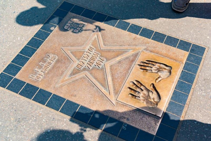 Krakow, Polska, 10 2019 Maj - spacer sława, aleja gwiazdy blisko Wawel Królewskiego kasztelu w Krakow, Polska fotografia stock