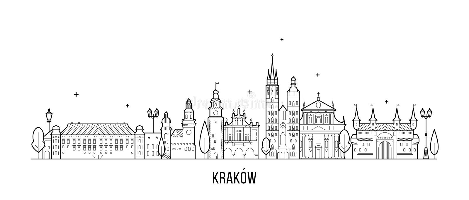 Krakow skyline Poland illustration city a vector. Krakow skyline, Poland. This illustration represents the city with its most notable buildings. Vector is fully vector illustration