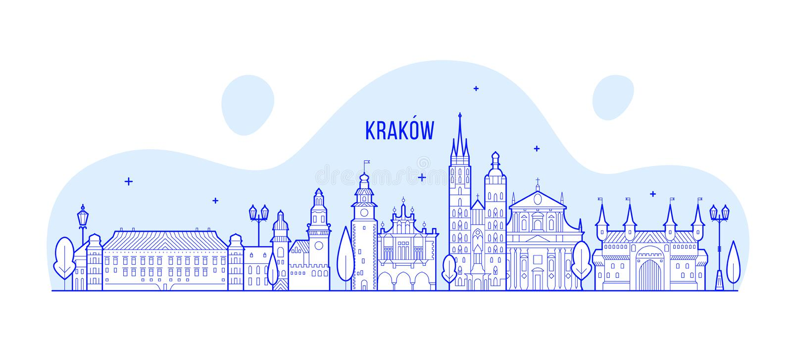 Krakow skyline Poland city buildings vector linear. Krakow skyline, Poland. This illustration represents the city with its most notable buildings. Vector is stock illustration