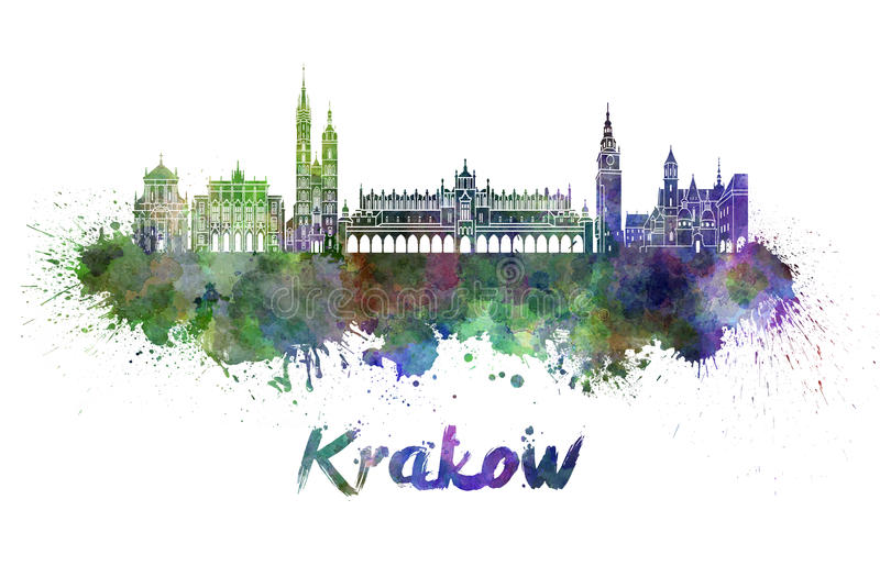 Krakow skyline in watercolor. Splatters with clipping path royalty free illustration
