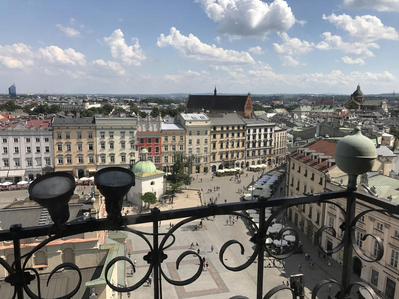Krakow square. Seen from the Town Hall Tower in Poland royalty free stock images