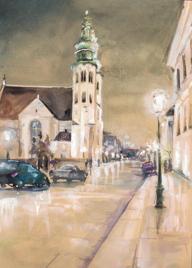Krakow. St. Andrew's Church on Grodzka Street by night - Krakow (Poland) Picture created with watercolors vector illustration