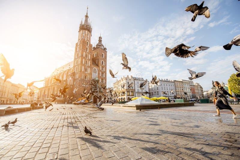 Krakow stad i Polen arkivbilder