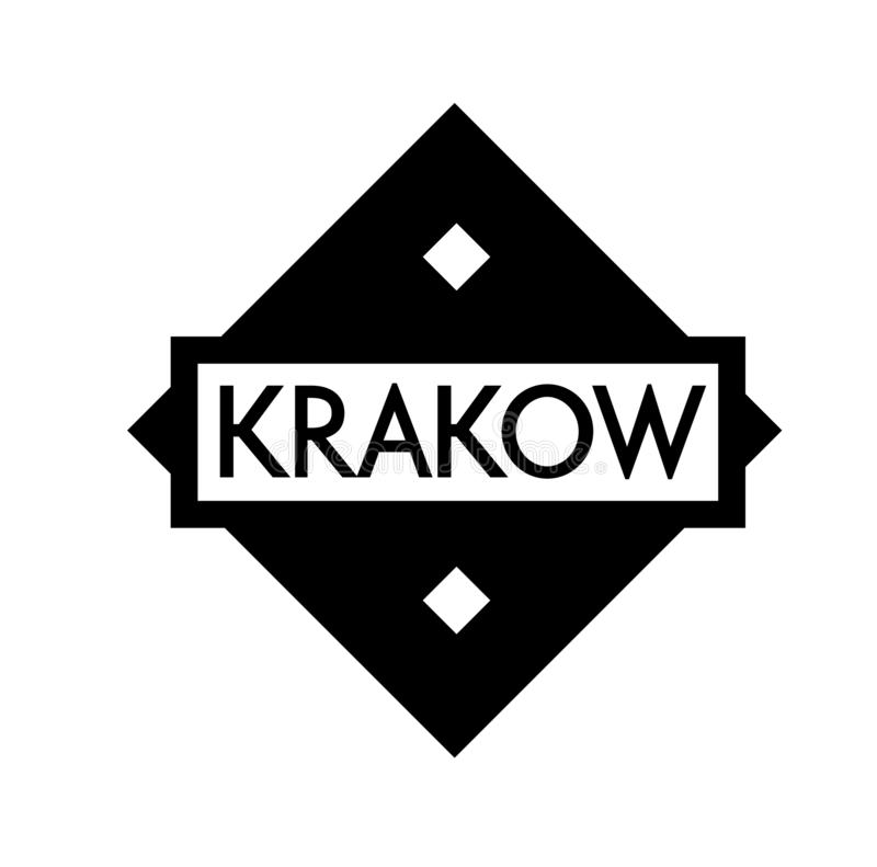 KRAKOW stamp on white. Background. Labels and stamps series vector illustration