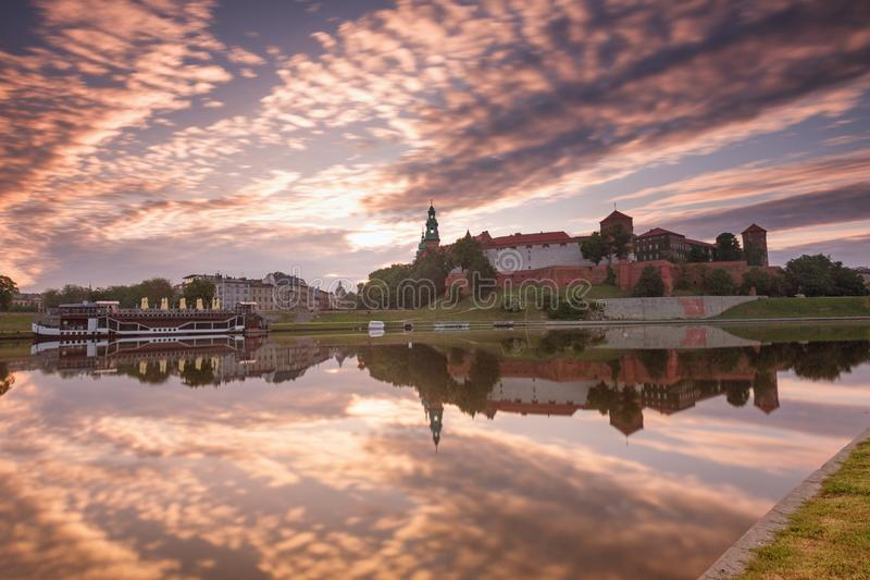Krakow. Sunrise view of the city landscape. Krakow, historical architecture of the city royalty free stock images