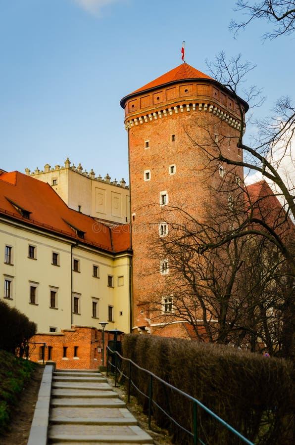 Krakow Wawel kasztel przy zmierzchem przy końcówką Luty, spokój ciepła przyjemna pogoda obraz royalty free