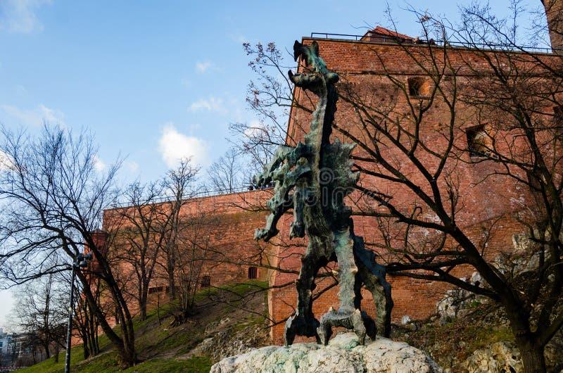 Krakow Wawel kasztel przy zmierzchem przy końcówką Luty, spokój ciepła przyjemna pogoda obraz stock