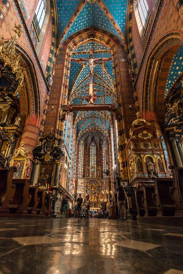 Krakowski (Krakow) - Polska świętego marykościół wnętrze zdjęcie royalty free