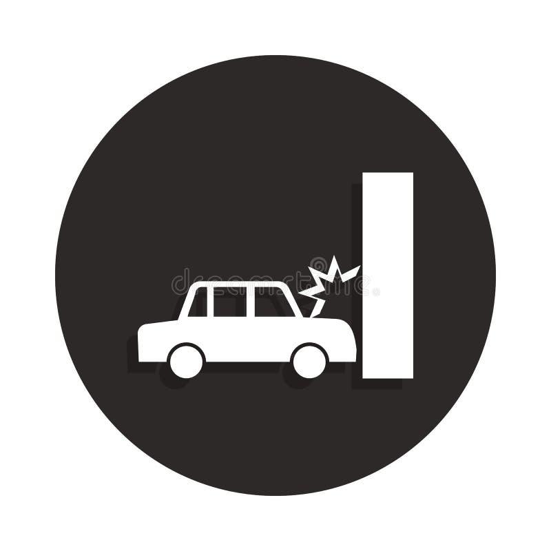 Kraksa samochodowa, auto trzaski w ścienną ikonę w odznace projektuje Jeden Śmiertelna inkasowa ikona może używać dla UI, UX ilustracja wektor