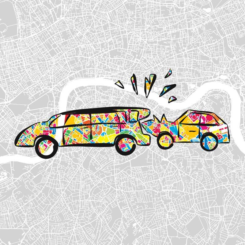 Kraksa Samochodowa na wektorowej mapie, Płaski projekt ilustracja wektor