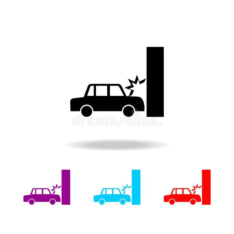 Kraksa samochodowa, samochód rozbija w ścienną ikonę Elementy śmierć w wielo- barwionych ikonach Premii ilości graficznego projek ilustracja wektor