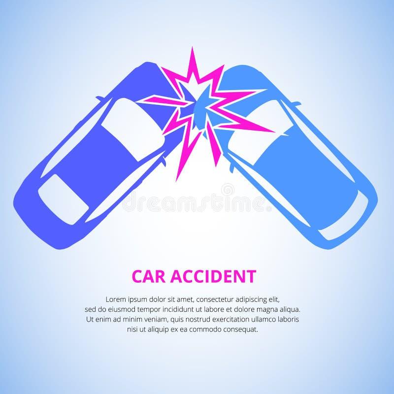 Kraksa samochodowa, wypadku samochodowego odgórny widok odizolowywający na lekkim tle Kraksa samochodowa nagłego wypadku katastro ilustracji