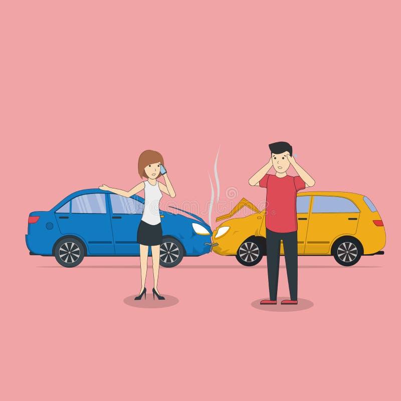 Kraksy samochodowej sytuacja ilustracja wektor