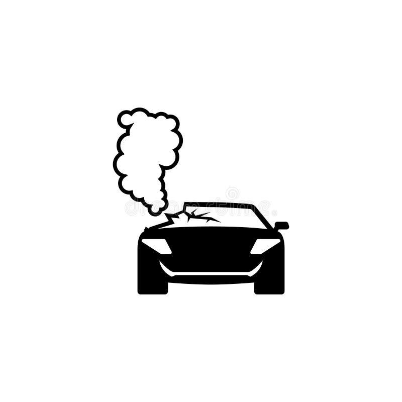 Kraksy Samochodowej Wypadkowa Płaska Wektorowa ikona royalty ilustracja