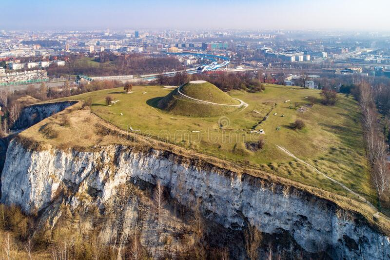 Krakus Mound and quarry in Krakow, Poland royalty free stock photos