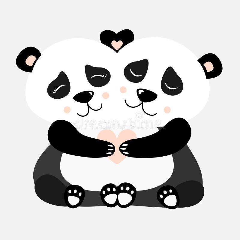 Krama den Panda Postcard Vector illustrationen royaltyfri illustrationer