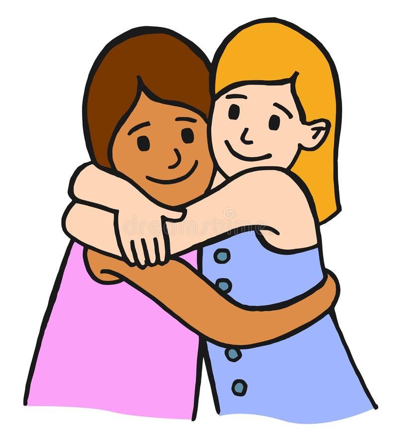 krama för barnvänner royaltyfri illustrationer
