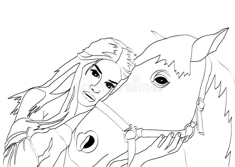 krama för flickahäst stock illustrationer