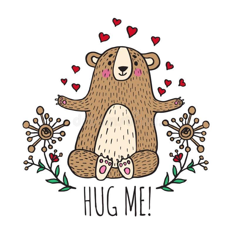 Krama mig kortet med nallebjörnen royaltyfri illustrationer