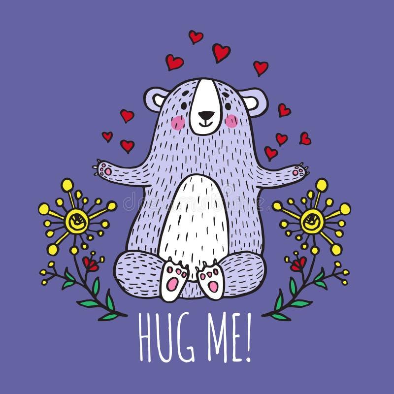 Krama mig kortet med nallebjörnen stock illustrationer