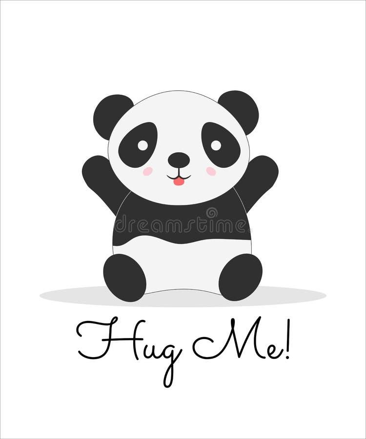 Krama mig som märker vykortet för tecknad filmvektorfärg vektor illustrationer