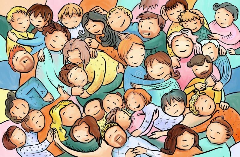 Krama och att kela folk, grupp människor på ett omfamningparti vektor illustrationer
