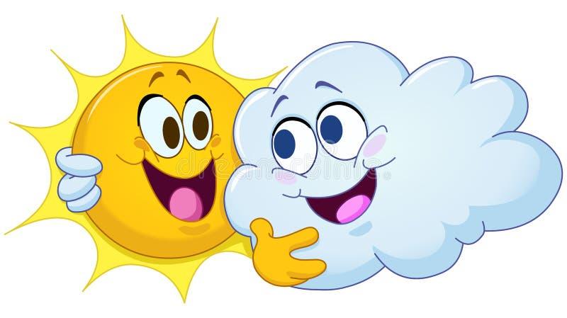 Krama solen och molnet stock illustrationer