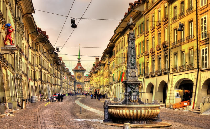 Kramgasse street in the Old City of Bern - UNESCO site. In Switzerland royalty free stock photos