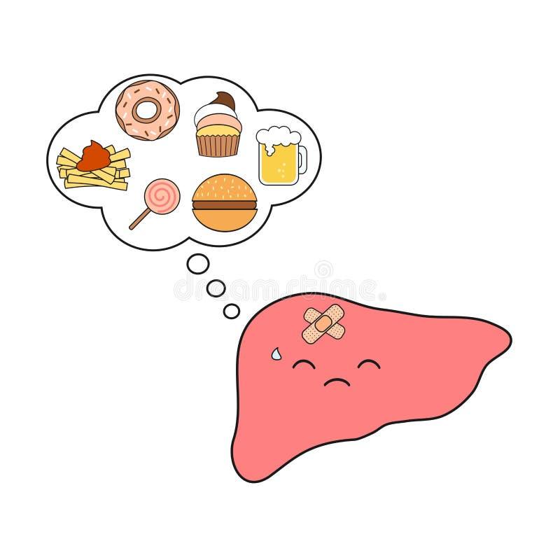 Kramnahrungsmittelkarikaturkonzeptillustration des netten und lustigen, unglücklichen und kranken menschlichen Lebercharakters de vektor abbildung