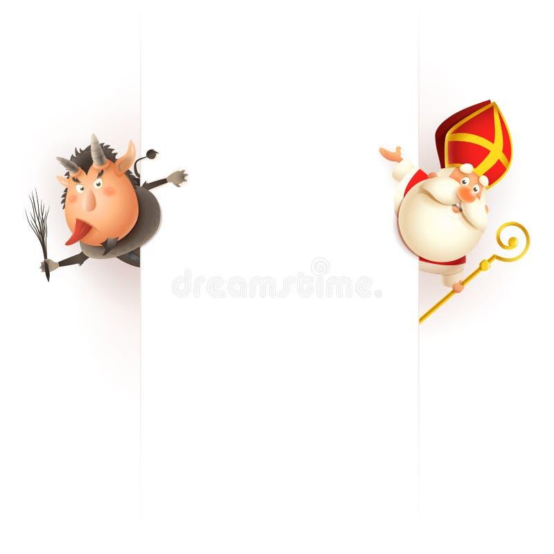 Krampus en lado izquierdo y San Nicolás por el lado derecho del tablero - caracteres lindos felices celebre los días de fiesta -  libre illustration
