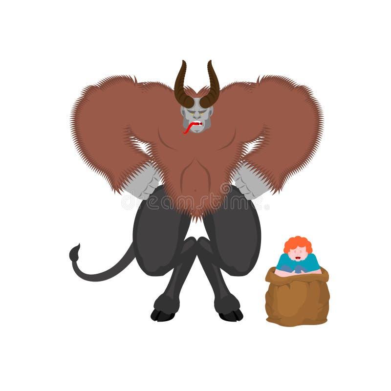 Krampus i chłopiec Anty Święty Mikołaj dla złych dzieciaków Straszny rogaty Mon ilustracji