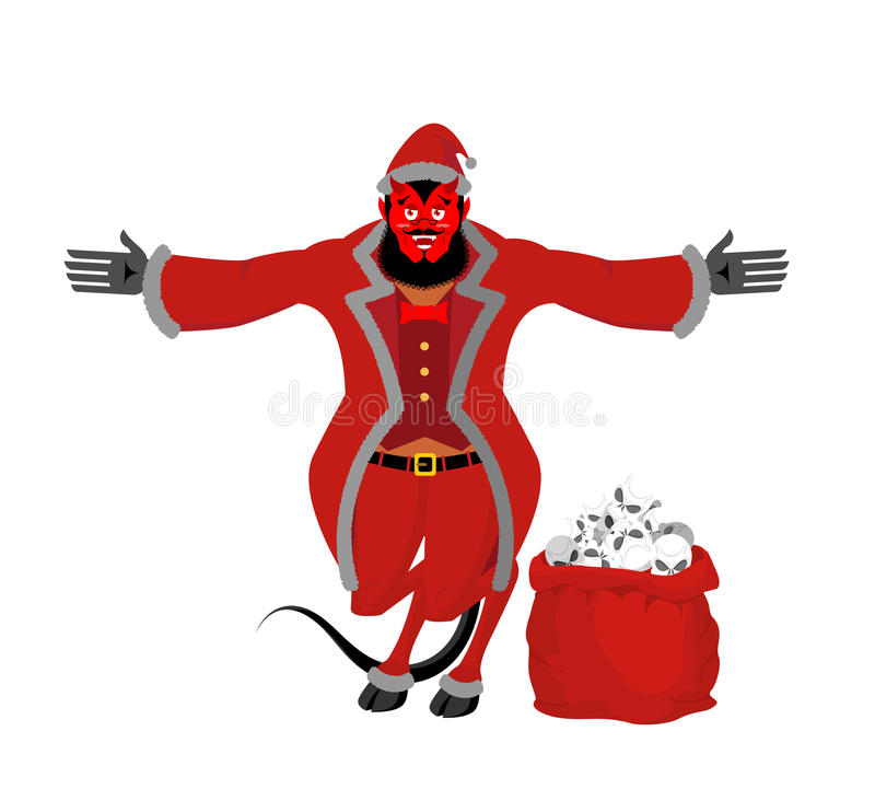 Krampus Satan Santa. Claus red demon with horns. Christmas monster for bad children and bullies. folklore evil. Devil with beard royalty free illustration