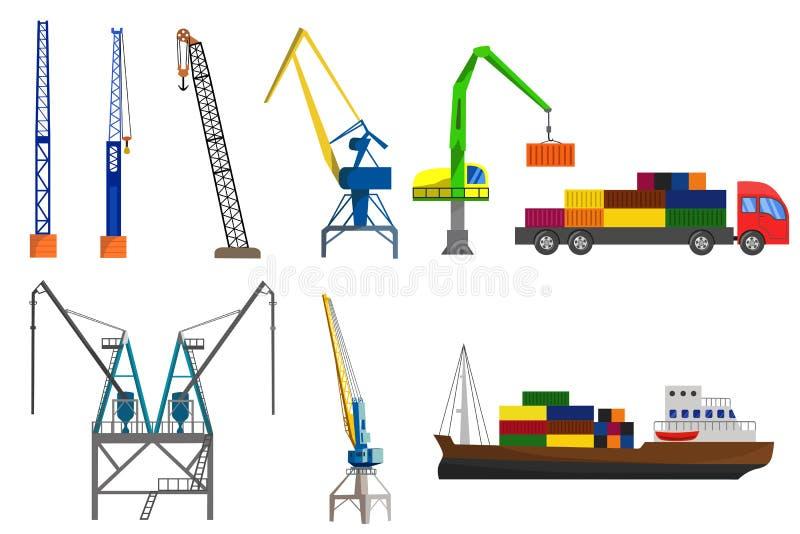 Kran-, lastbil- och behållareskepp stock illustrationer