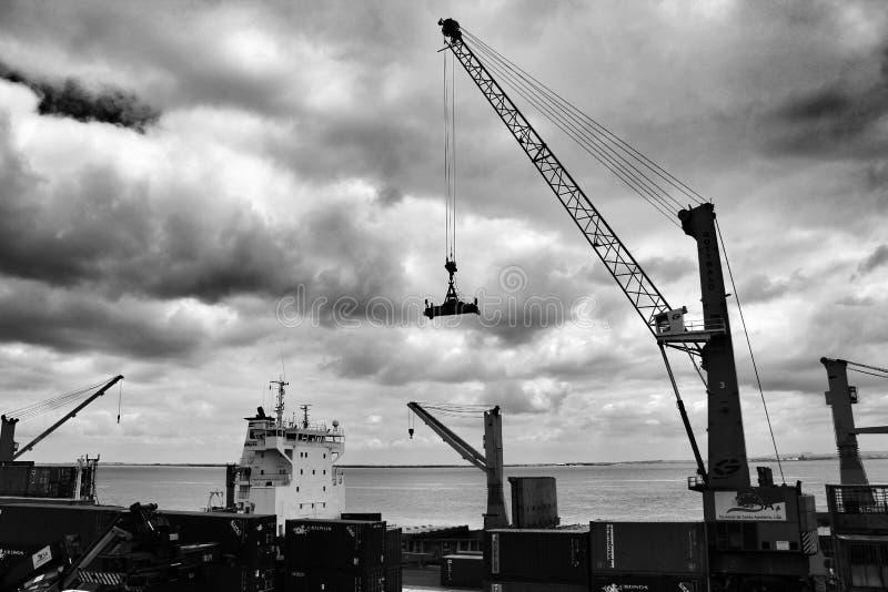 Kran och behållare på skeppsdockan i porten av Lissabon royaltyfria bilder