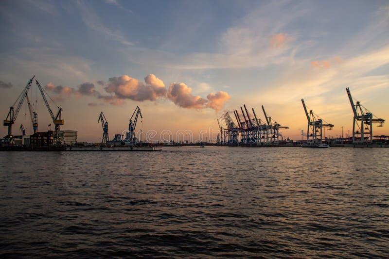 Kranen bij de Haven van Hamburg bij Zonsondergang royalty-vrije stock afbeeldingen