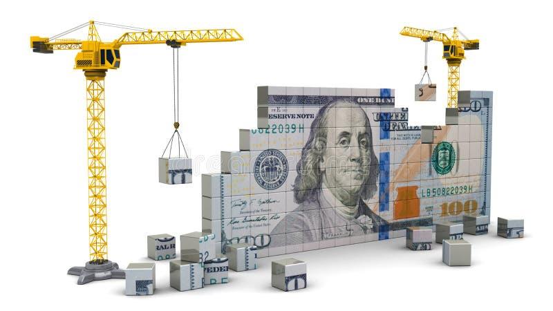 Kranen die geld bouwen vector illustratie