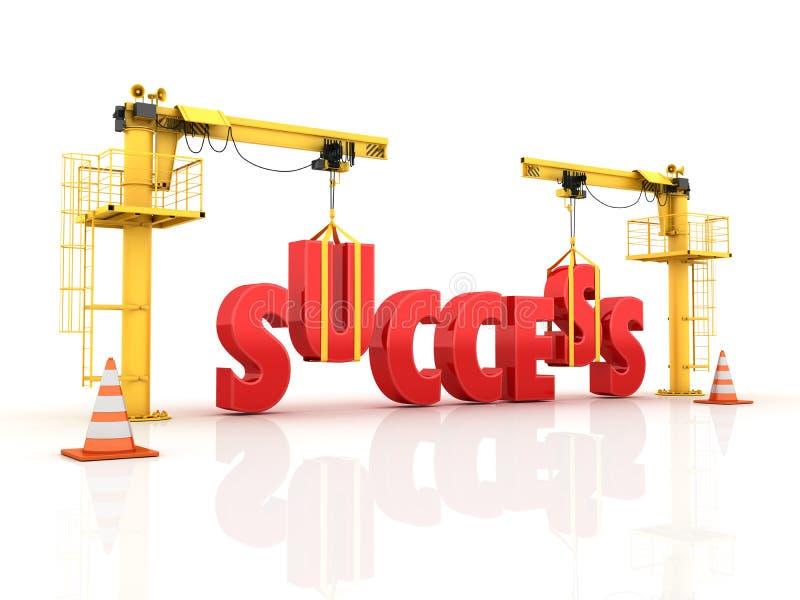Kranen die het SUCCESwoord bouwen stock illustratie