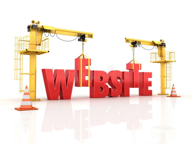 Kranen die het WEBSITEwoord bouwen stock illustratie