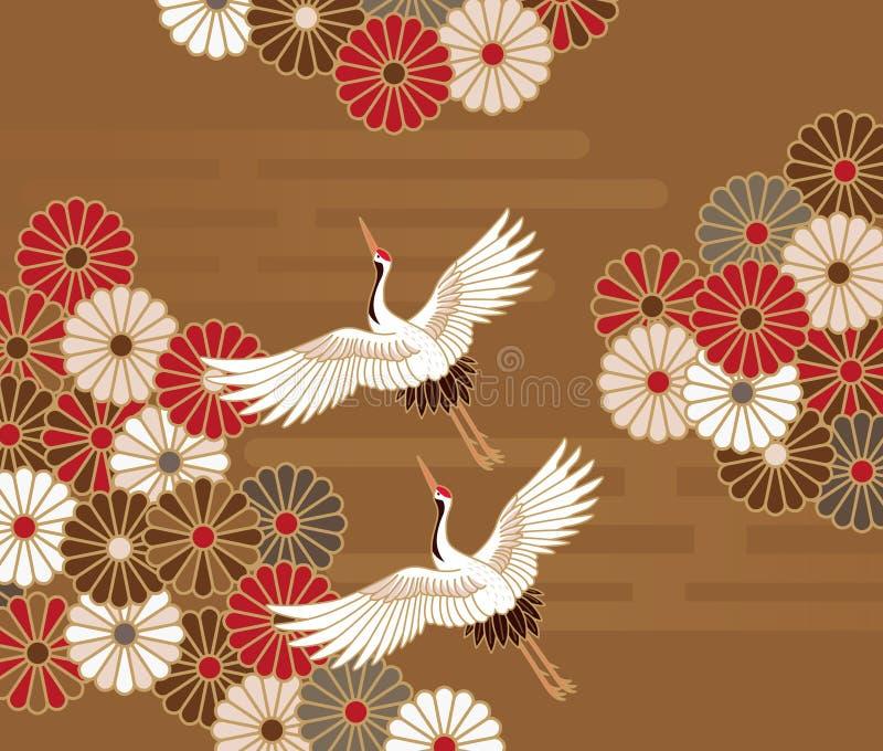 Kranen en chrysanten Japans traditioneel patroon vector illustratie
