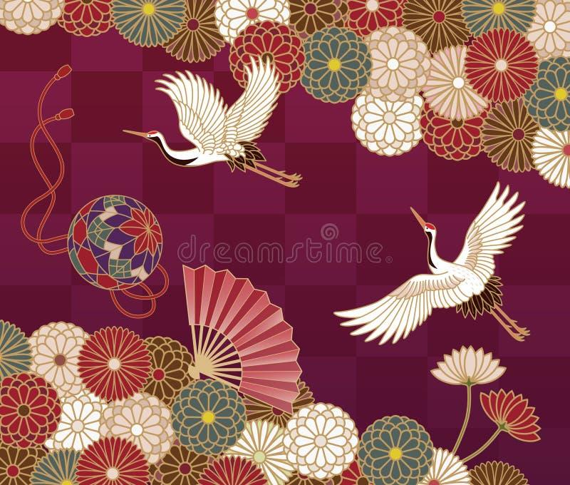 Kranen en chrysanten Japans traditioneel patroon stock illustratie