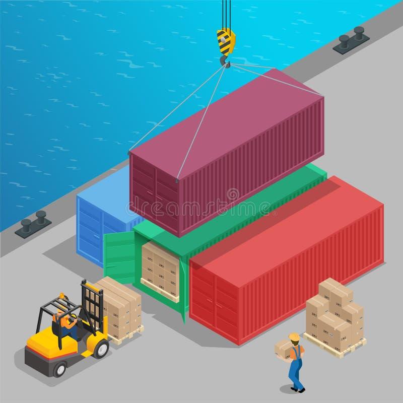 Kranen lyfter en stor behållare med isometrisk last Global logistik Begrepp för frakttrans. 3d för päfyllningsport för last torr  stock illustrationer