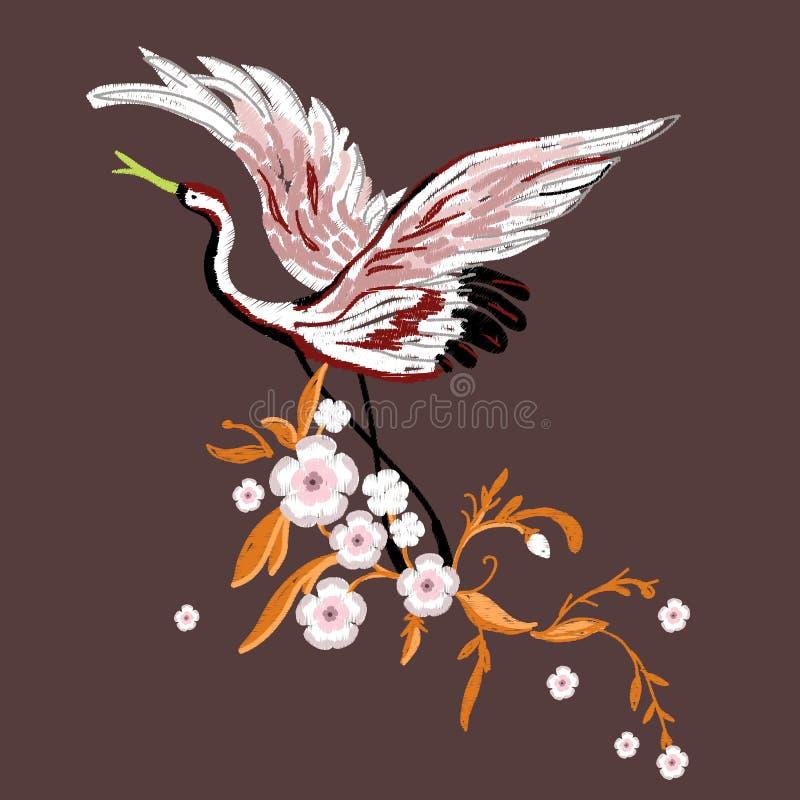 Kranen met bloemen Borduurwerk voor Manier Vector illustratie stock illustratie